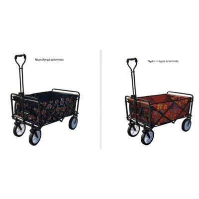 Összecsukható kocsi, 80 kg, takaróponyvával, hordtáskával, virágos